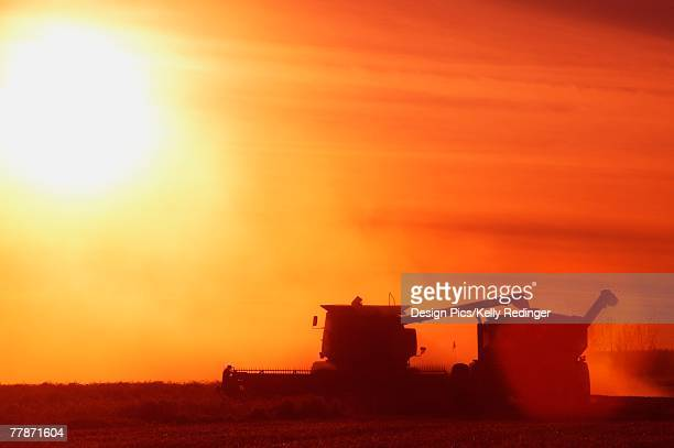 Farm equipment harvesting