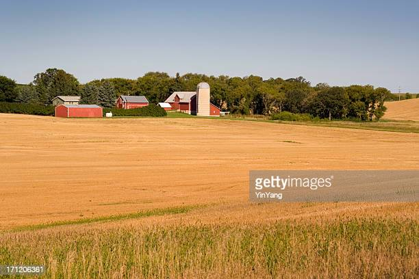 Farm Field and Barns, Minnesota, Rural Midwest, USA Agricultural Landscape