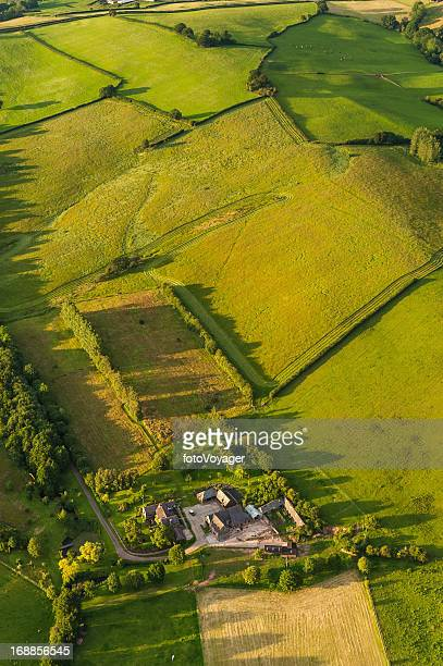 Farm fields green summer patchwork quilt aerial landscape