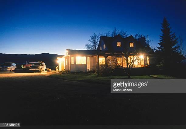 Farm home at dusk