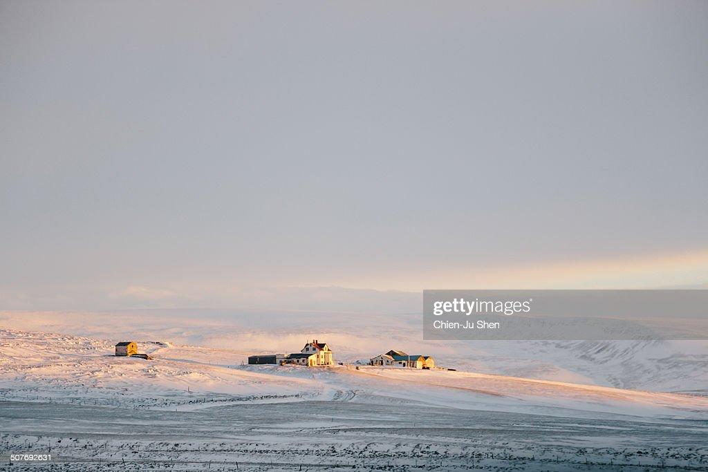 Farm houses on snow