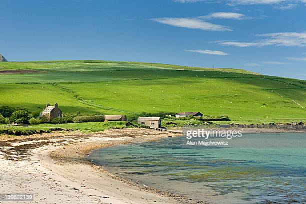 Farm houses on the northern coast of Hoy, Orkney Islands, Scotland, UK