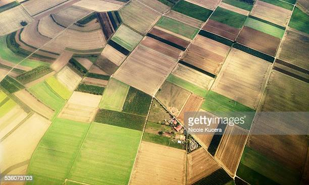 Farm land view from plane looking down over central Europe