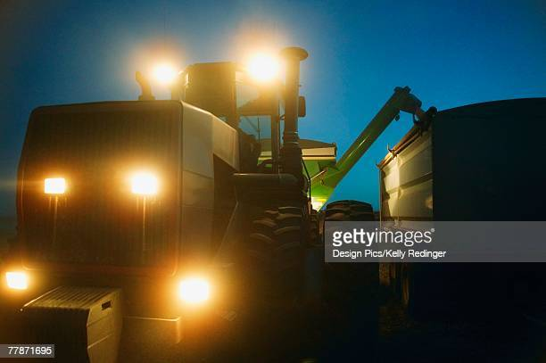 Farm machinery working at night