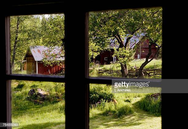 A farm on the countryside seen through a window.