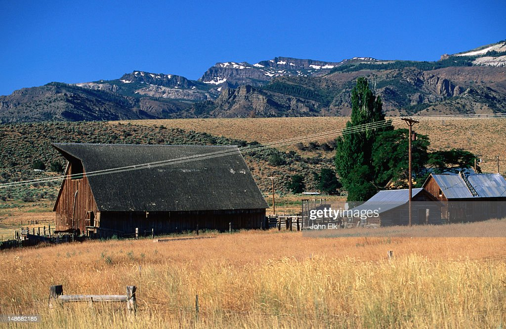 Farm with Warner Mountains.