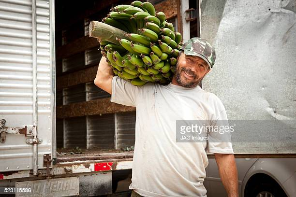 Farm worker holding large bunch of bananas, container vehicle in background, Brazil