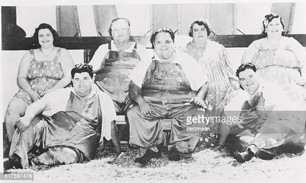 Farmar's fat family Total weight 3773 pounds Photograph taken outside of circus tent