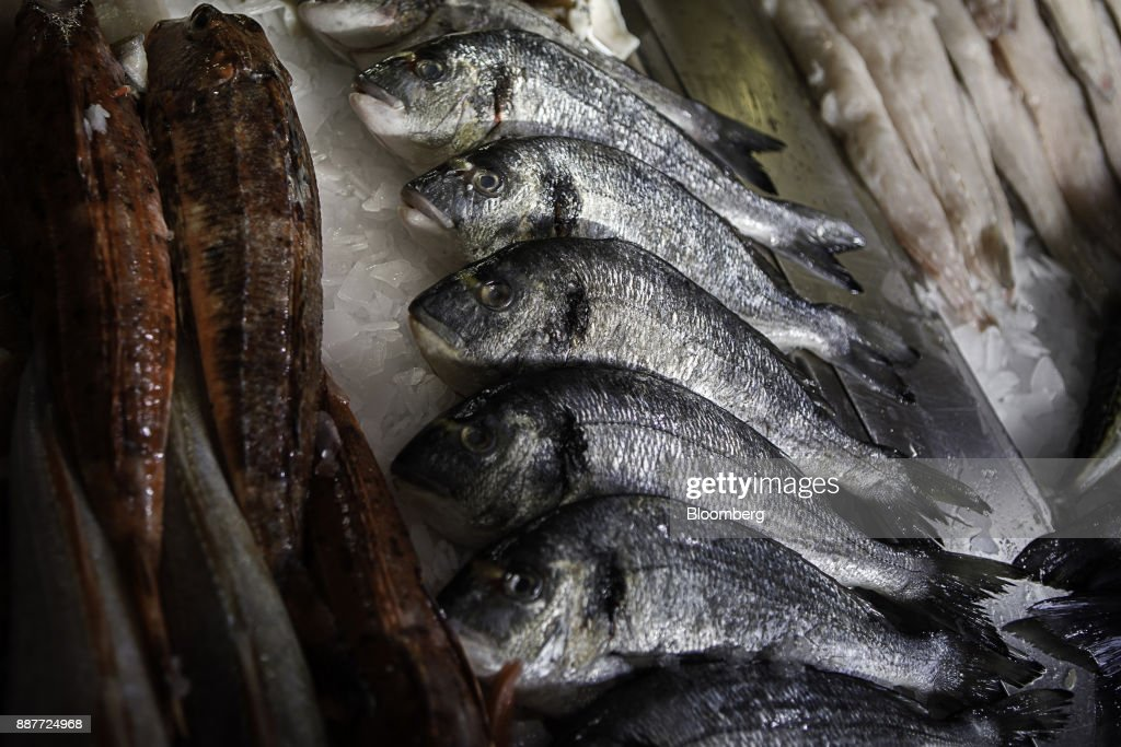 Farmed bream and fresh gurnard sit on display at the Trelawney Fish & Deli fishmongers in Newlyn, U.K., on Tuesday, Nov. 28, 2017. Prime Minister Theresa May will pull Britain out of the 1964 London convention that allows European fishing vessels to access waters as close as six to twelve nautical miles from the U.K. coastline. Photographer: Annie Sakkab/Bloomberg via Getty Images