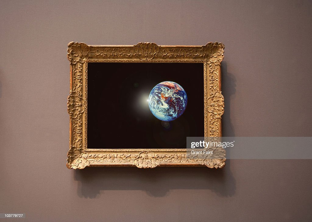 farmed photograph of earth seen from space. : Stock Photo