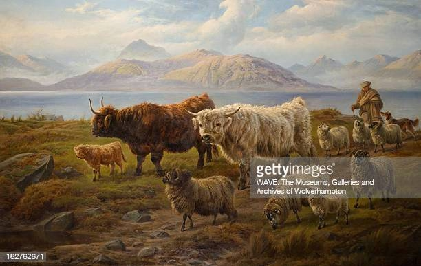 A farmer and his dog lead a group of sheep and cattle away from a Scottish loch In the background the mountains fade into the cloudy sky Loch Leven...