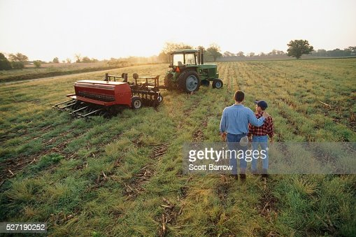 Farmer and son in a field : Stock Photo