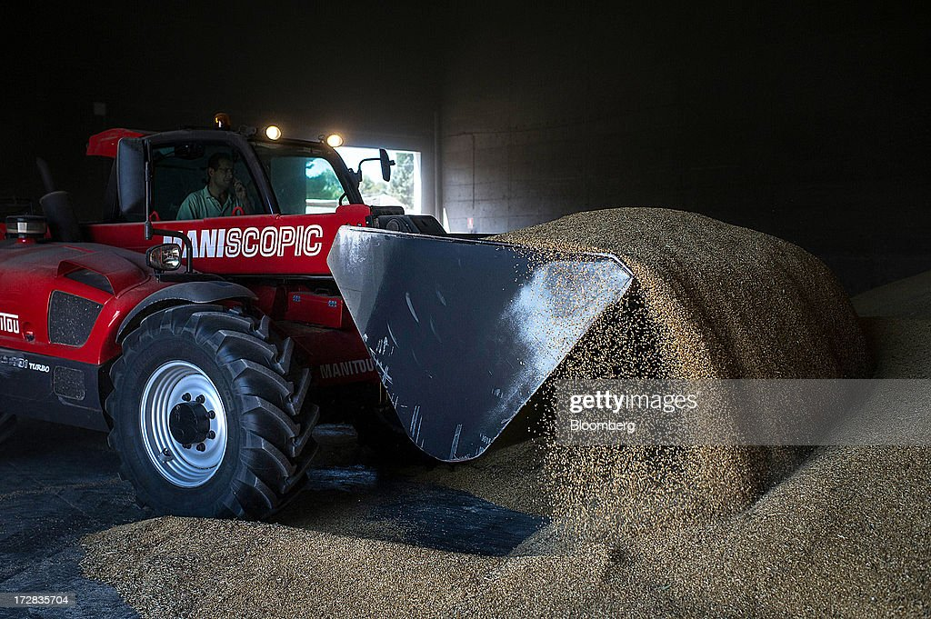 A farmer arranges stores of barley grain using a Manitou Miniscopic front-loader in a warehouse in Cervera, Spain, on Thursday, July 4, 2013. Spain consumes about 28 million to 30 million tons of grain a year, of which two-thirds is produced domestically, according to young farmers organization Asaja. Photographer: David Ramos/Bloomberg via Getty Images