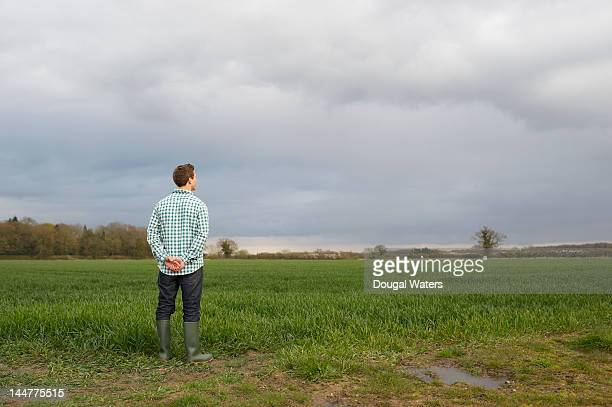 Farmer at edge of field looking across land.