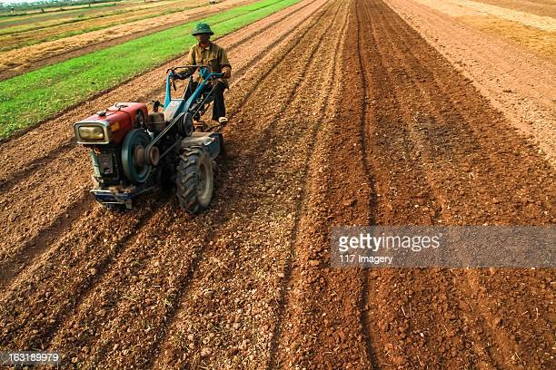 Farmer at work with tractor on the fields, Vietnam