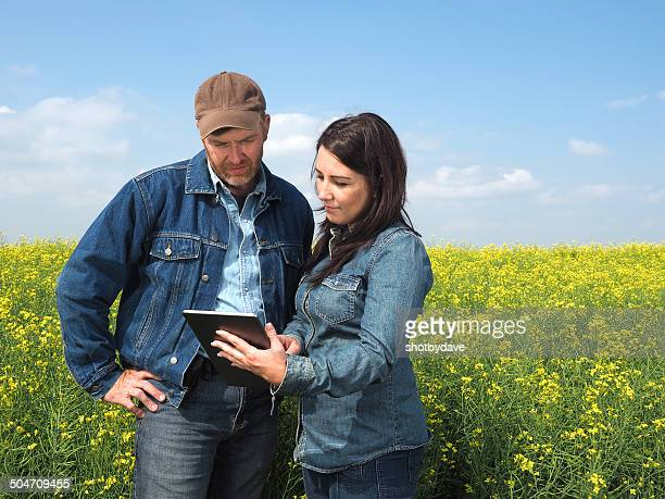 Farmer Couple and Tablet