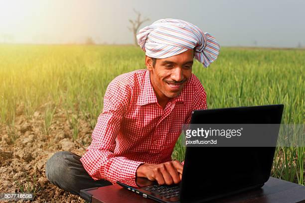 Farmer Enjoying Laptop In Wheat Field