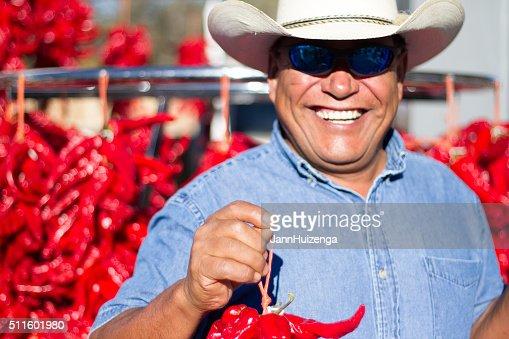 Farmer Hawks Chile Pepper Ristras at Santa Fe Farmers Market