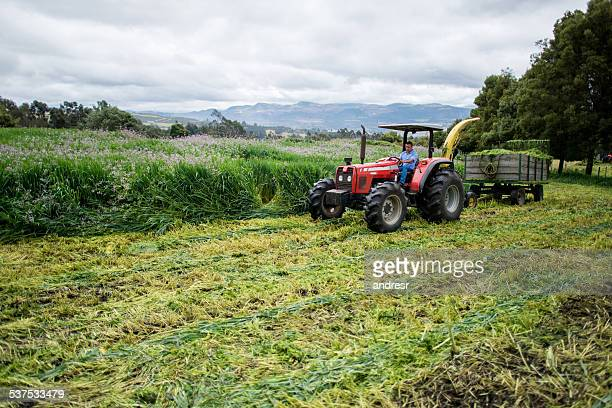 Farmer in a tractor plowing the earth