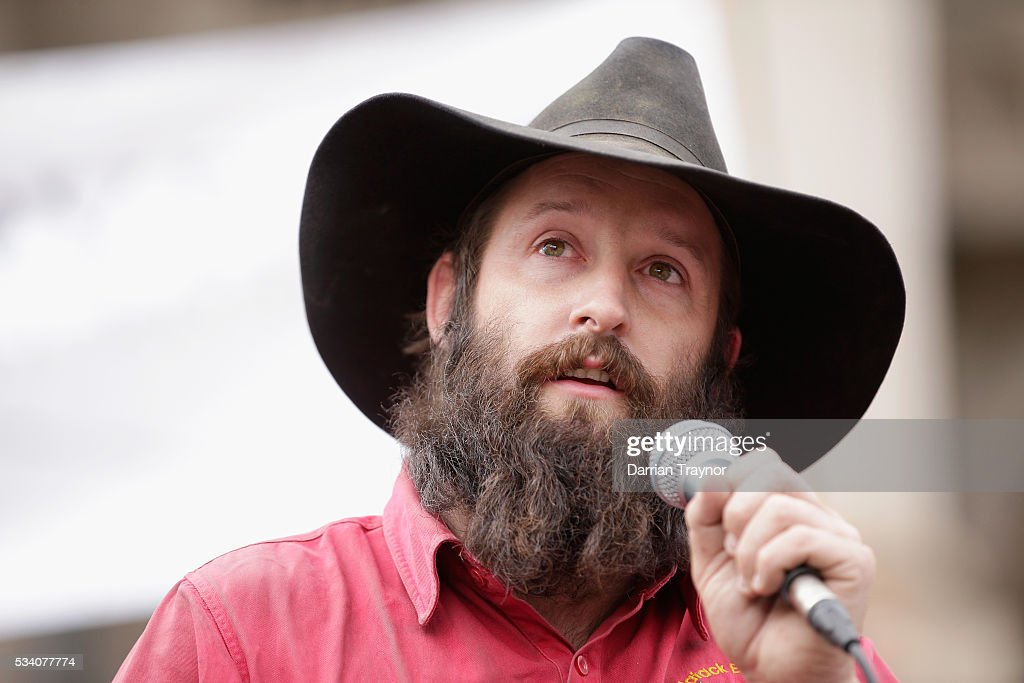 'Farmer John' speaks on the steps of Parliament House on May 25, 2016 in Melbourne, Australia. The Federal Government is expected to announce an assistance package for dairy farmers, who have been struggling due to falling milk prices in recent months.