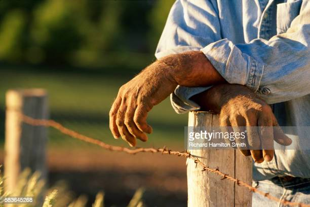 Farmer leaning on fence post in Minnesota