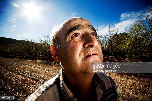 Farmer looking up