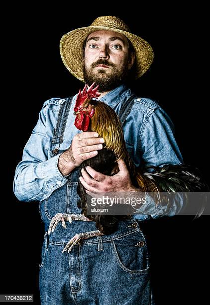 Farmer proud of his rooster
