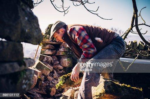 Farmer Repairing Old Stone Wall