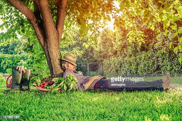 Farmer Rests under a Tree