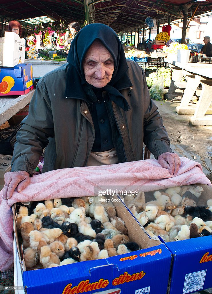 A farmer sells young chicks from his stall at the daily market on April 14, 2013 in Timisoara, Romania. Romania has abandoned a target deadline of 2015 to switch to the single European currency and will now submit to the European Commission a programme on progress towards the adoption of the Euro, which for the first time will not have a target date.