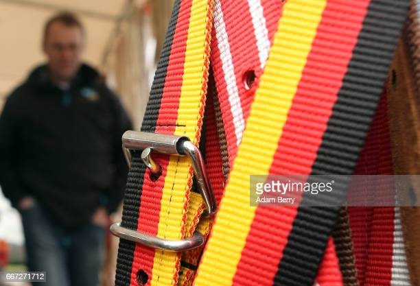 A farmer shops for cattle bridles during an annual heifer auction on April 11 2017 in Gross Kreutz Germany Around 80 Angus Charolais Hereford...