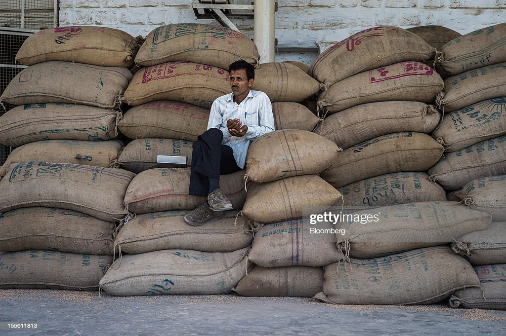 A farmer sits on sacks of guar in a processing plant on the outskirts of Mathania, in the district of Jodhpur in Rajasthan, India, on Monday, Oct. 29, 2012. Guar gum is used to blend materials used in fracking. Photographer: Sanjit Das/Bloomberg via Getty Images