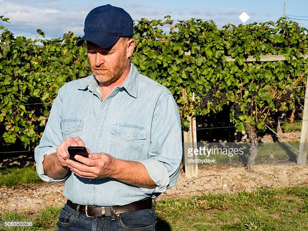 Farmer, Smartphone with App, Email, Calling or Texting