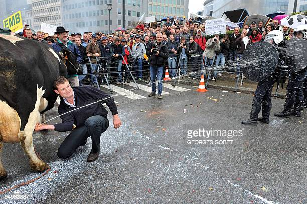 A farmer sprays milk on police forces during a protest against falling milk prices outside the European Headquarters on October 5 2009 in Brussels EU...