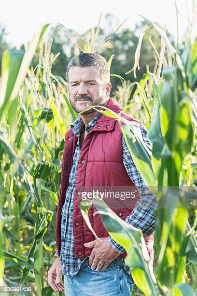 Farmer standing in sunny field of corn