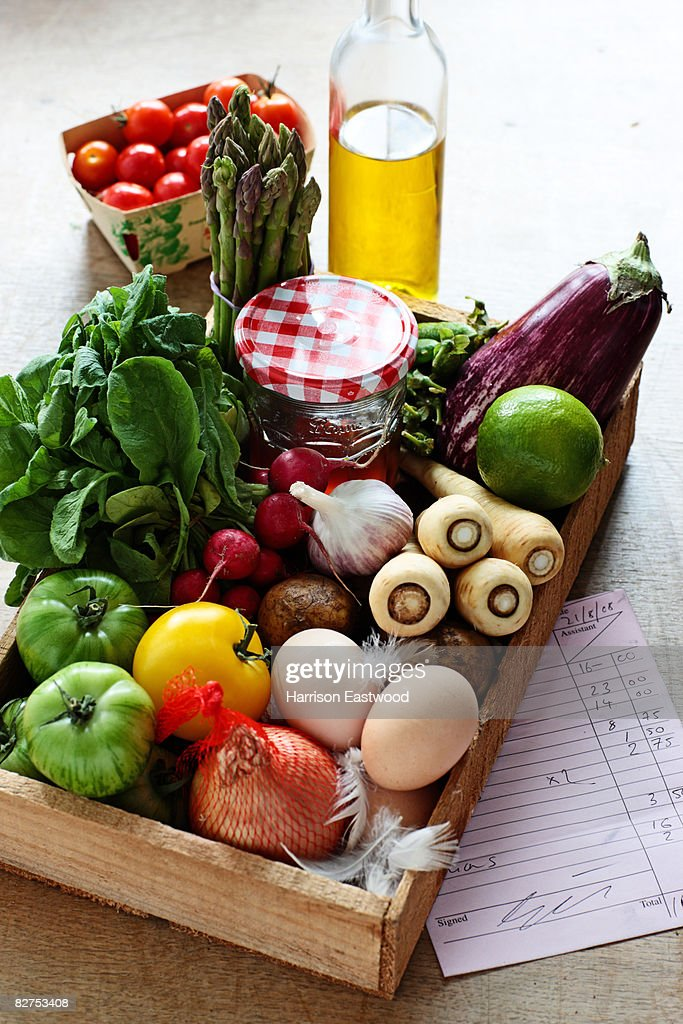 farmer style market box with fresh food : Stock Photo