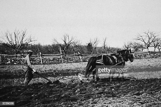 A farmer tills the soil in his field using a plow pulled by two horses