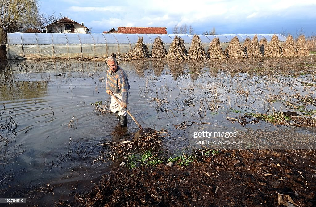 A farmer tries to clear the debris off his field in the village of Monospitovo, in the southeastern tip of the Republic of Macedonia on February 27, 2013. The torrential rains which in the last three days poured down on the fertile Strumica Valley inundated fields and villages, destroying or damaging crops and households. Tens of people in the region are now sheltered, as their homes were gravely damaged.