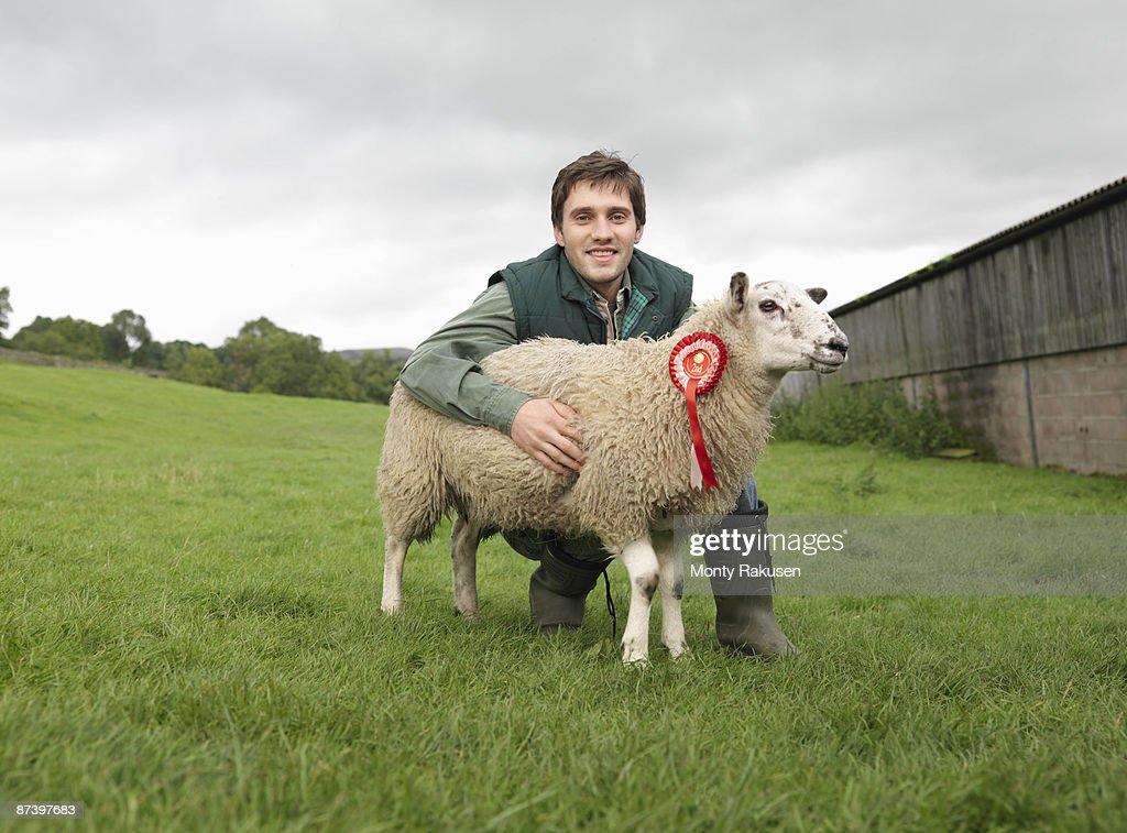 Farmer With Prize-Winning Sheep : Stock Photo