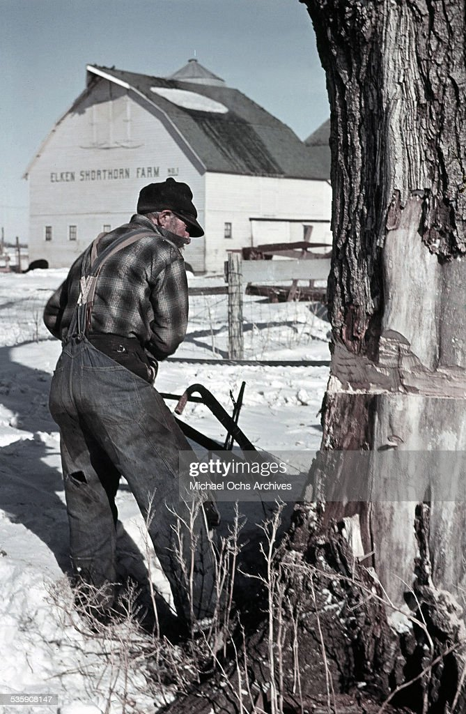 A farmer works on this farm in the winter in North Dakota.