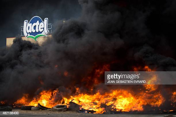 Farmers burn tires in front of a dairy factory of the Lactalis Group in Laval northwestern France during a demonstration against falling food prices...
