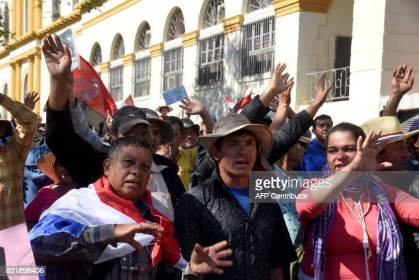 Farmers demanding the writing off of their debts protest in downtown Asuncion on August 15 2917 during the celebration of the 480th anniversary of...