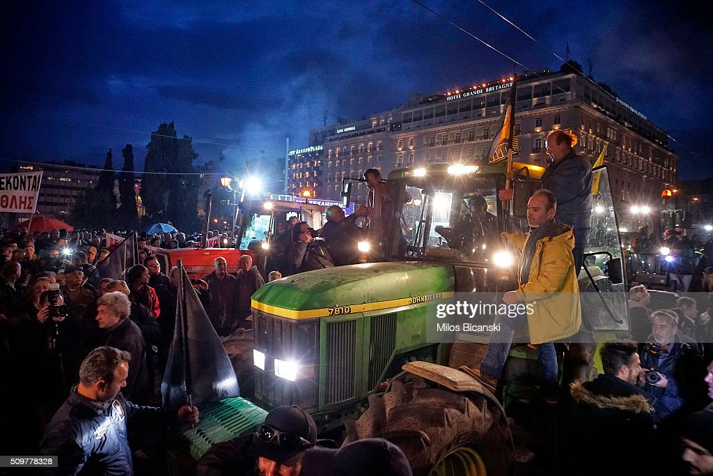 Farmers drive their tractors during a protest in front of the Greek parliament on February 12, 2016 in Athens, Greece. Farmers from across Greece gather in Athens for a two-day protest against the government and its plans to impose new tax hikes and pension charges.