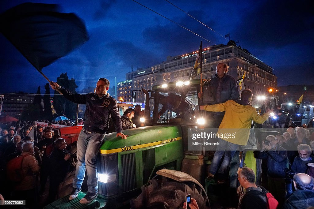 Farmers drive their tractors during a protest in front of the Greek parliament February 12, 2016. in Athens, Greece. Farmers from across Greece gather in Athens for a two-day protest against the government and its plans to impose new tax hikes and pension charges.