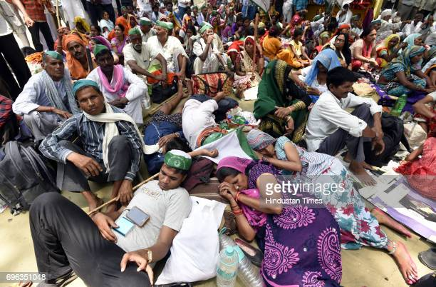 Farmers during a panchayat organized by the Bharatiya Kisan Union at Jantar Mantar on demanding the CBI investigation at Mandsaur Madhya Pardesh case...