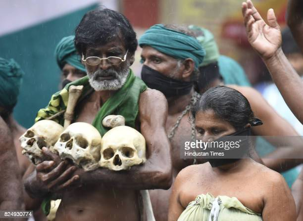 Farmers from Tamil Nadu protesting to press their demands of good price for crop pension etc at Jantar Mantar on July 31 2017 in New Delhi India...