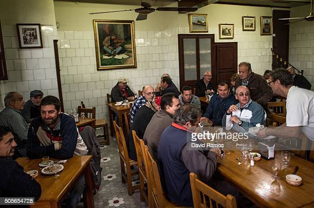 Farmers have breakfast on January 19 2016 in Valencia Spain According to the Valencia's Tiger Nut Regulatory Council the cultivation of 'chufa' is...