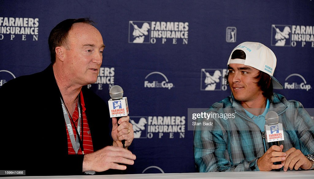 Farmers Insurance CEO Jeff Dailey announces a sponsorship agreement with PGA TOUR player <a gi-track='captionPersonalityLinkClicked' href=/galleries/search?phrase=Rickie+Fowler&family=editorial&specificpeople=4466576 ng-click='$event.stopPropagation()'>Rickie Fowler</a> during a press conference for the Farmers Insurance Open at Torrey Pines Golf Course on January 23, 2013 in La Jolla, California.