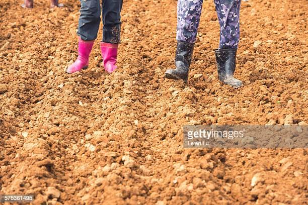 Farmers standing on farmland