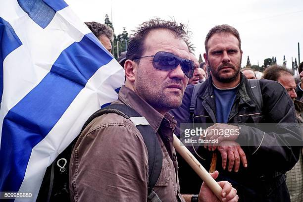 Farmers take part in an antigovernment rally in front of the parliament on February 13 2016 in Athens Greece Thousands of farmers from across Greece...